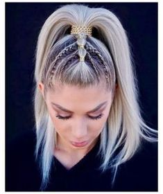 66 Most Alluring Ponytail Hairstyles Inspiration To Try queue de cheval coiffure longue, coiffure en Braided Ponytail Hairstyles, Casual Hairstyles, Bob Hairstyles, Hair Ponytail, Protective Hairstyles, Braids Into Ponytail, Cute Medium Hairstyles, Hairstyle Ideas, Ponytail Easy