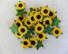 50 pcs - 15mm paper sunflower embellishments - 1.5 cm die cut paper sunflowers - paper flower embellishments