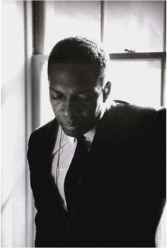 John Coltrane backstage / Stanford University a few months before his death in 1966 (photo by Jim Marshall)
