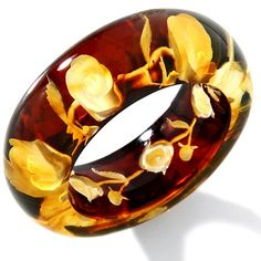 Age of Amber Carved Cherry Red Amber Rose-Design Intaglio Ring at HSN.com