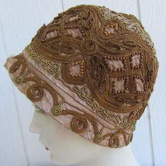 Vtg 1920s Flapper Cloche Hat Metallic Braided Brocade Cording Wood Beads Taupe | eBay