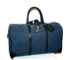 Vintage GUCCI Duffle Denim Navy Leather Large Travel Tote  -AUTHENTIC- on Etsy, $695.00