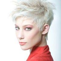 platinum blonde short spiky hairstyle