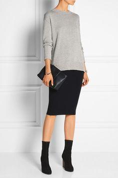 grey sweater over black dress