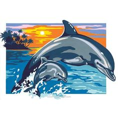 Dolphins and sunset - Dolphin Drawing, Dolphin Painting, Dolphin Art, Canvas Painting Tutorials, Diy Canvas Art, Horse Drawings, Art Drawings, Art Tigre, Art Tropical