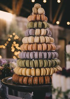 macaron tower | photo by Josh Goleman of Wedding Artist Collective | 100 Layer Cake