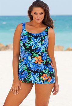 Beach Belle Blue Tropical Garden Plus Size Princess Swimdress - swimsuitsforall Swimsuits For All, One Piece Swimwear, One Piece Swimsuit, Plus Size Beach, Voluptuous Women, One Piece For Women, Swim Dress, Princess Seam, Looking Stunning