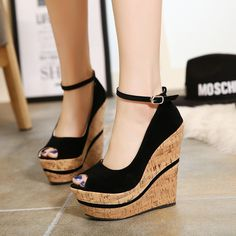 - Beautiful peep toe ankle strap wedge heel platforms for the fashionable woman - Lovely design offers a cool casual look - Great for parties or casual outings - Ankle strap for style and support - Ma