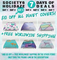 7 Days of Deals > > > Day 3   > > > $10 OFF All Duvet Covers + Free Worldwide Shipping! < < <    + $5 OFF All Other Items And Free Worldwide Shipping Only thru THIS Link: > > > http://society6.com/edrawings38?promo=2PJ64PNYMVY2 < < <    *Ends December 10, 2014 at Midnight PST.   #promo #freeshipping #offer #deals #sale #savings #discount #Society6 #Christmas #winter #holidays #gifts #giftideas #shop #duvet #duvetcovers #bedroom #interior #home #graphic #design