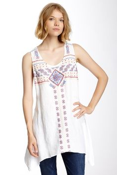 Johnny Was JWLA Sharkbite Embroidered Linen Tunic by Assorted on @HauteLook