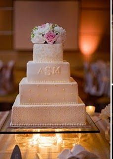 very similar to the picture in my head! the different pattern design on the tiers, initials and flower topper.. of course i want different flowers and initials in purple :)