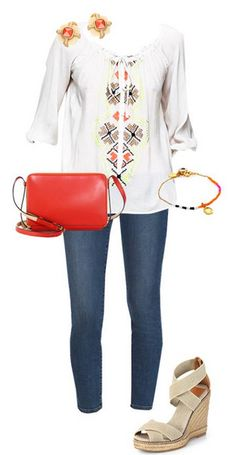 SUMMER WEEKENDS: BRUNCH WITH FRIENDS - Stay comfortable all day in this breezy top. Pops of color in a cross body bag completes the look.   Find the Style Corner from app's front page and see style tips from Samantha Scragg!