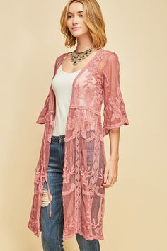 Lace Mesh Kimono Sleeve Lilac (soft purple), Mauve (deep pink), or White Fits True to Size – Flowy Long Kimono Outfit, Boho Kimono, Kimono Fashion, Skirt Fashion, Boho Fashion Over 40, Cute Fashion, Modest Fashion, Autumn Fashion, Boho Outfits