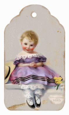 Brocante Brie: Even voorstellen aan....\ GIRL IN PURPLE- 1825 SPRINGTIME TAG