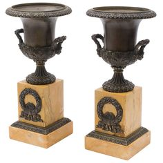 Pair French Louis Philippe Bronze Campana Urns on Sienna Marble Plinths c.1860 | From a unique collection of antique and modern bronzes at https://www.1stdibs.com/furniture/more-furniture-collectibles/bronzes/