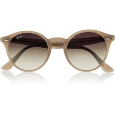Ray-Ban Round-frame acetate sunglasses ($160) ❤ liked on Polyvore featuring accessories, eyewear, sunglasses, glasses, oculos, brown, brown lens sunglasses, lens glasses, acetate glasses and brown gradient sunglasses