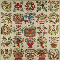 Baltimore-Style Album Quilt Top, artist unidentified, Baltimore, Maryland, found in Uniontown, Pennsylvania, United States, 1845–1850, cotton with wool embroidery