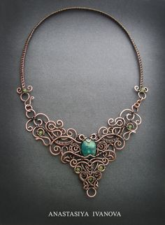 Wired necklace with chrysocolla by nastya-iv83....beautifully done..