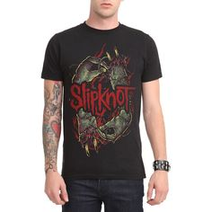 Slipknot Stitched T-Shirt Hot Topic ($21) ❤ liked on Polyvore featuring tops, t-shirts, black t shirt, black cotton top, black tee, cotton t shirt and black top