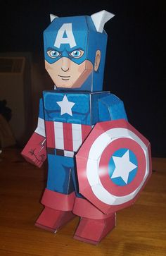 Captain America ~ Would make a good centerpiece or decoration at a superhero party!
