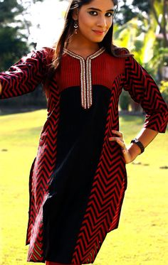 Black and Red Designer Tunic (TFL310) - OnlineDesignerStore.com