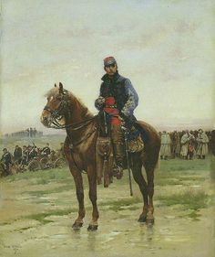 Jean Baptiste Edouard Detaille French, 1848-1912, A Mounted Officer