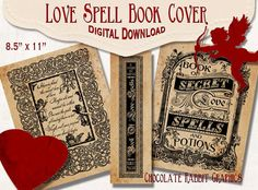 Love Spell Book Cover Valentine's Day Witch Digital Download Printable Vintage Image Clip Art Scrapbook Collage Sheet