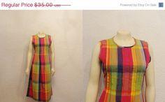 1/2 OFF SALE Vintage Dress Bright Plaid JBS by 2sweet4wordsVintage, $17.50  #vintagedress #cheapvintage #vintageonsale #etsy #clearance #sale