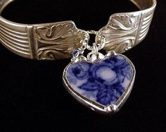 antique silver spoon bracelet with flow blue heart charm by Dishfunctional Designs