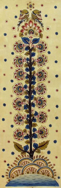 Kalamkari Tree of Life - Indian Folk Art Pichwai Paintings, Indian Art Paintings, Small Paintings, Mural Painting, Ancient Indian Art, Indian Folk Art, Madhubani Art, Madhubani Painting, Indian Art Gallery