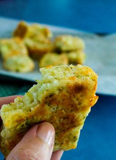 Broccoli and Cheese Squares. 4 ingredients and a whole cup f broccoli in each batch. Good for getting your picky eater to eat broccoli.