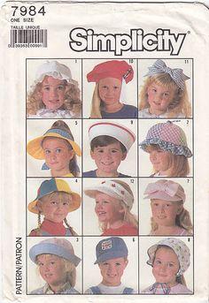 Simplicity 7984 -- Hat Headband Visor Bonnet Pattern