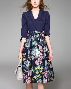 Blue 1/2 Sleeve Mock Two Piece Floral Midi Dress