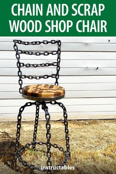 BMsculptures created this one-of-a-kind industrial shop chair using chain link and scrap wood. #Instructables #workshop #metalworking #furniture #woodworking