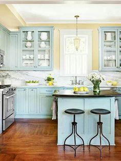 Love the blue for my kitchen island.  Also like the pale yellow walls w/ it.