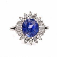Vintage Diamond Sapphire Ballerina Platinum Ring Item #: 126201