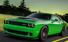 Doge Challenger 2015 Green Car Wallpaper