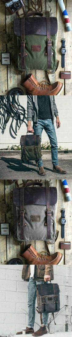 Rugged canvas and leather backpack under $150