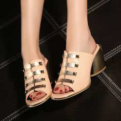 2015 new Fashion Mules Clogs ,Women Summer Sexy High Heels Shoes,Genuine Leather Women Sandals Lady slides sandals wholesales
