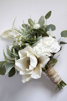 White Wedding Bouquet Greenery Succulent Bridal Bouquet Silk