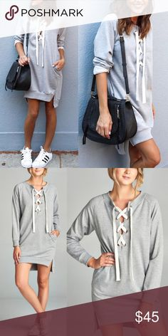 KATY Sweater Dress/Tunic Top - H. Grey Casual and chic!    AVAILABLE IN H. GREY AND OLIVE  PRICE FIRM Bellanblue Dresses