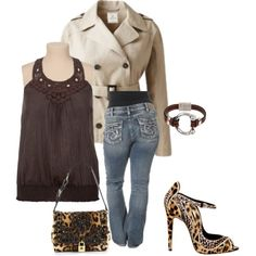 Brown and animal for spring- plus size