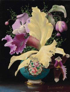 Orchids in a Blue Meissen Vase by Lev Tchistovsky. Oil on board Orchid Vase, Bath Girls, Art Academy, Bunch Of Flowers, Russian Art, Cool Artwork, Painting Inspiration, Art For Sale, Beautiful Gardens