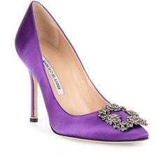Manolo Blahnik Hangisi Satin Pump Petunia ($970) ❤ liked on Polyvore featuring shoes, pumps, purple, manolo blahnik pumps, high heel shoes, purple pointy toe pumps, purple evening shoes and evening shoes