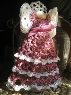 Angels Divine – Crochet Clothespin Angel. My mom  made me on Angel just like this <3
