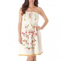 Strapless Floral Embroidered Dress