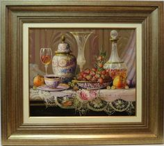 Michel : Classic Still life. Medium: Oil on canvas Measurements (cm): 80x71 Canvas measurements (cm): 55x46 Interior frame: Yes. Highly talented painter of admirable mastery. The magnificent and well balanced composition of his still life paintings has led to their winning several awards. Devoted to the theme of still life, Michel has had brilliant reviews and his collections may be found throughout Spain and abroad.  $805.86