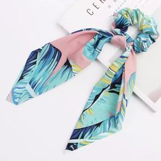 Scrunchie Scarf Pink & Blue leaves – Lizzys Abode$8 Instock Blue Leaves, Scrunchies, Pink Blue, Sewing, Fashion, Moda, Couture, Fabric Sewing, Fasion