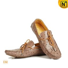 6be0ea7160b32 Men Moccasin Shoes Casual Laced Ostrich Embossed Leather Loafer Flat Shoes  CW709092  128.89 - www.