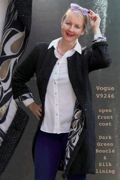 Sewing Chanel-Style, how to sew a Chanel Inspired jacket? Chanel Fashion, Boho Fashion, Chanel Style Jacket, Couture Jackets, Turquoise Dress, Chanel Couture, Vogue Sewing Patterns, Suede Fabric, Long Jackets